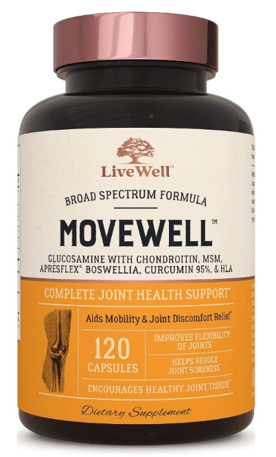 Movewell Glucosamine and Chondroitin supplement by LiveWell Nutrition